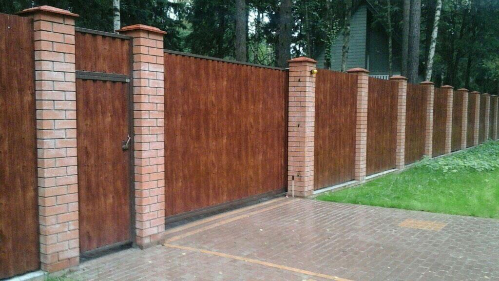 Откатные ворота с калиткой 17